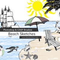Beach Sketches Photoshop and GIMP Brushes by redheadstock