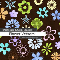 Flower Vectors Photoshop and GIMP Brushes by redheadstock