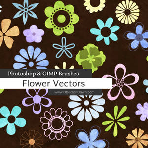 Flower Vectors Photoshop and GIMP Brushes