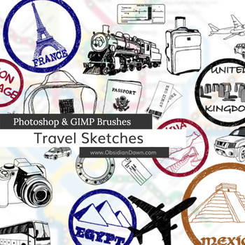 Travel Sketches Photoshop and GIMP Brushes by redheadstock