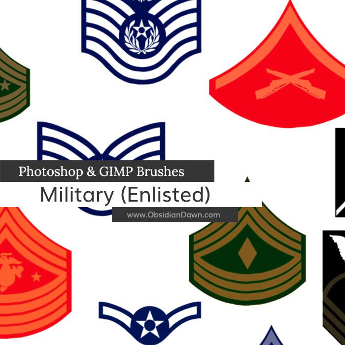 US Military Ranks II Photoshop and GIMP Brushes
