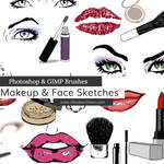Makeup + Face Sketches Photoshop and GIMP Brushes