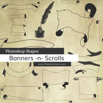Banner n Scrolls Photoshop Custom Shapes by redheadstock