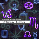 Astrology Sketches Photoshop and GIMP Brushes