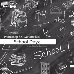 School Dayz Sketches Photoshop and GIMP Brushes by redheadstock