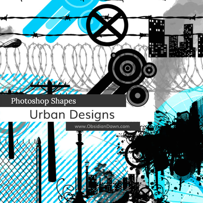 Urban Designs Photoshop Custom Shapes by redheadstock