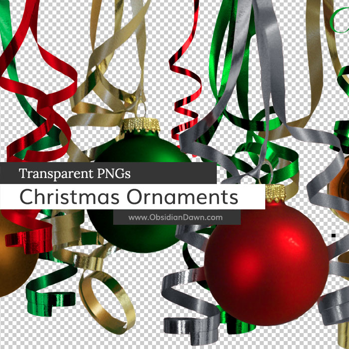 Christmas Ornaments n Ribbons PNGs