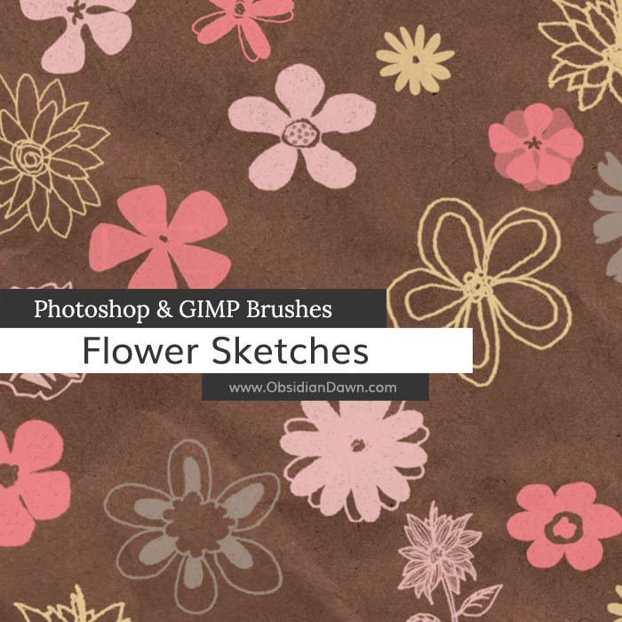 Flower Sketches Photoshop and GIMP Brushes by redheadstock