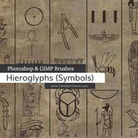 Egyptian Symbols Photoshop and GIMP Brushes by redheadstock