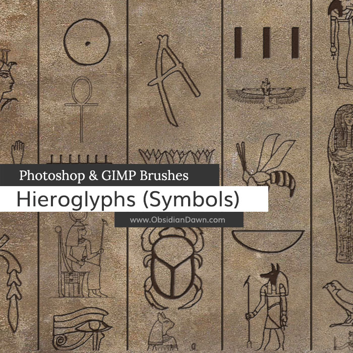 Egyptian Symbols Photoshop And Gimp Brushes By Redheadstock On