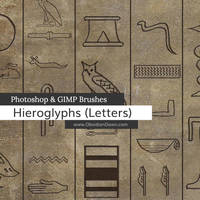 Egyptian Hieroglyph Photoshop and GIMP Brushes by redheadstock
