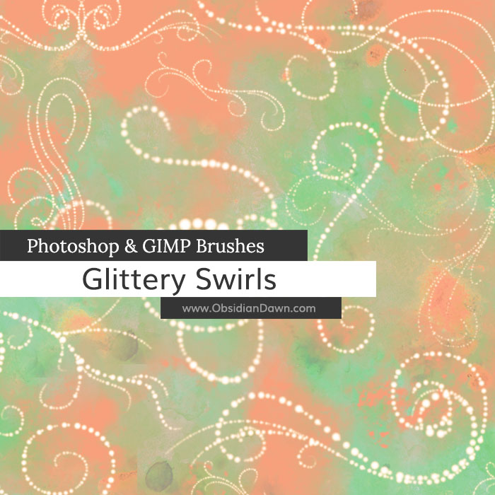 Glittery Swirls Photoshop and GIMP Brushes