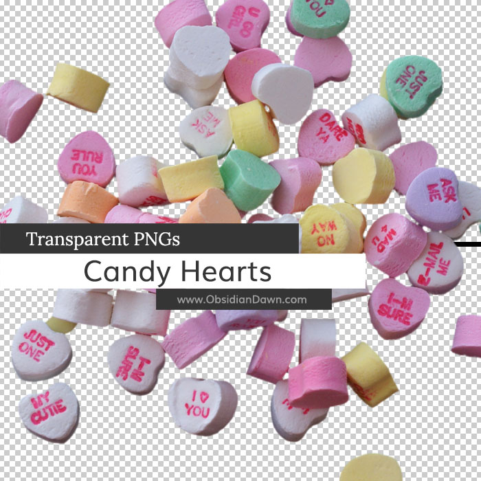 Candy Hearts Transparent PNGs by redheadstock