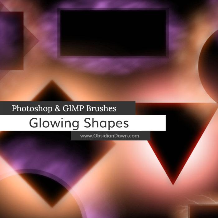 Glowing Shapes Borders Photoshop and GIMP Brushes