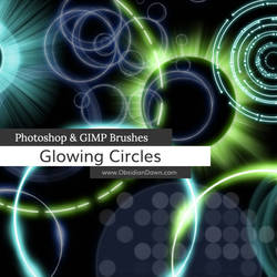 Glowing Circles Photoshop and GIMP Brushes