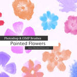 Painted Flowers Photoshop and GIMP Brushes