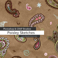 Paisley Sketches Photoshop and GIMP Brushes by redheadstock