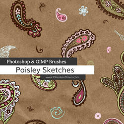 Paisley Sketches Photoshop and GIMP Brushes