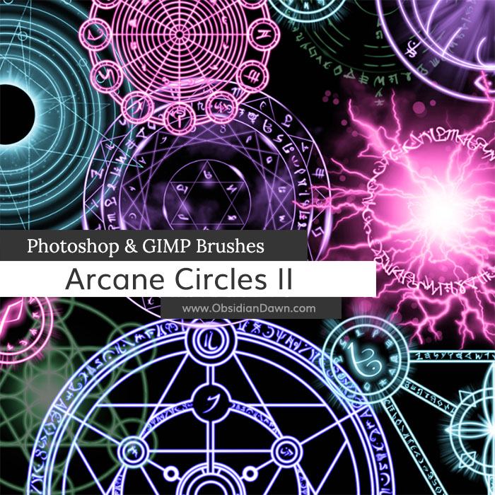 arcane circles ii photoshop and gimp brushes by