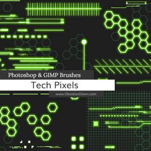 Tech Pixels Photoshop and GIMP Brushes