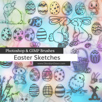 Easter Sketches Photoshop and GIMP Brushes by redheadstock
