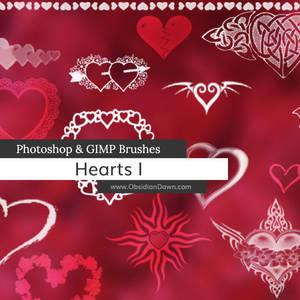 Hearts Photoshop and GIMP Brushes