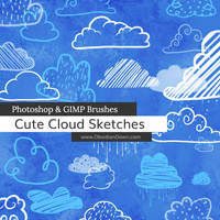 Cute Cloud Sketches Photoshop and GIMP Brushes