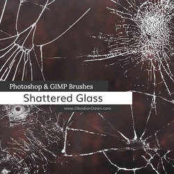 Shattered Glass Photoshop and GIMP Brushes