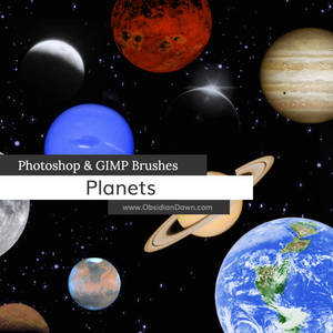 Planets Photoshop and GIMP Brushes