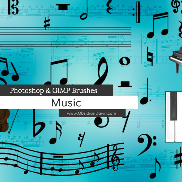 Music Photoshop and GIMP Brushes
