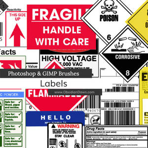 Labels Photoshop and GIMP Brushes