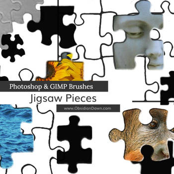 Jigsaw Puzzle Piece Photoshop and GIMP Brushes