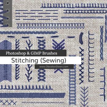 Stitching - Sewing Photoshop and GIMP Brushes