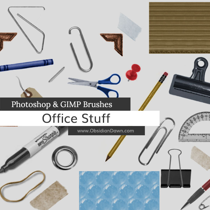 Office Stuff Photoshop and GIMP Brushes by redheadstock