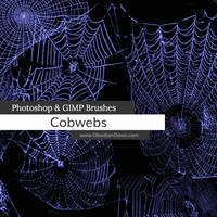 Cobwebs Photoshop and GIMP Brushes by redheadstock