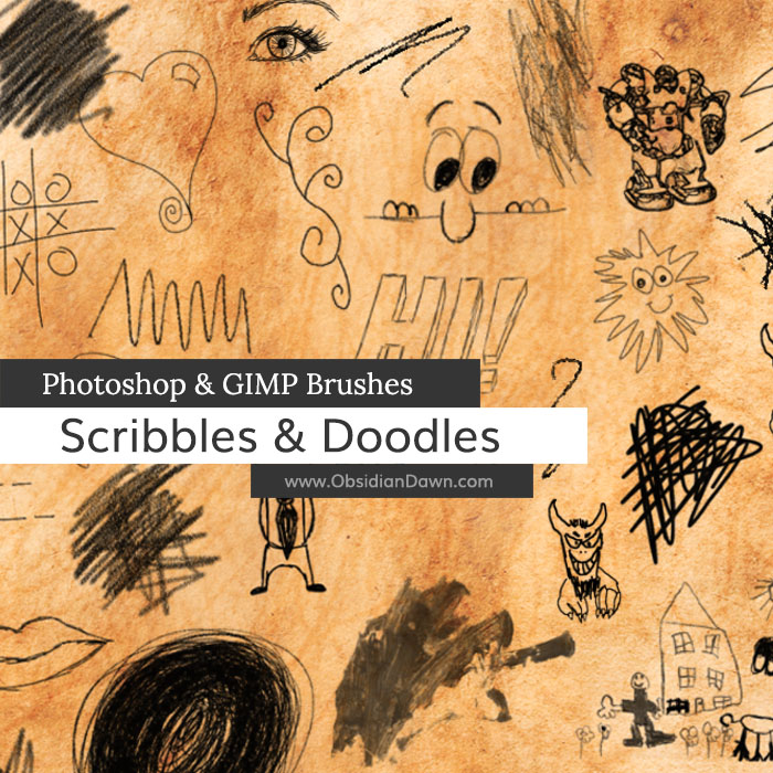 Scribbles and Doodles Photoshop and GIMP Brushes by redheadstock