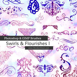 Swirls and Flourishes Photoshop and GIMP Brushes