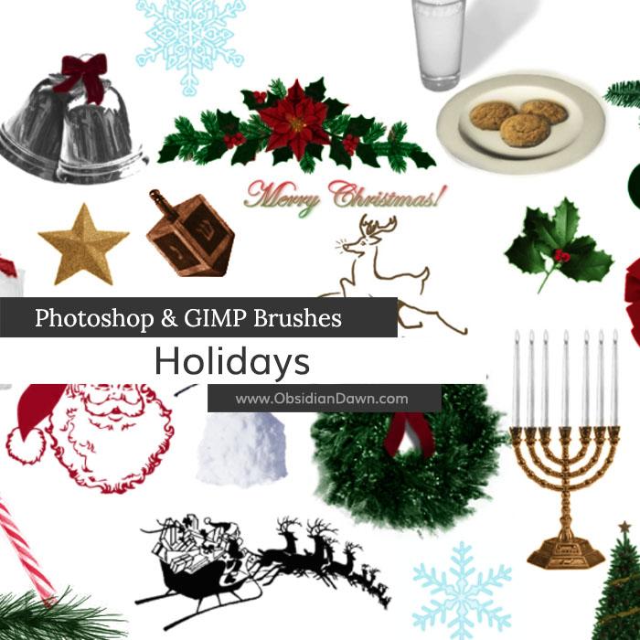 Holiday Photoshop and GIMP Brushes