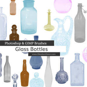 Glass Bottles Photoshop and GIMP Brushes