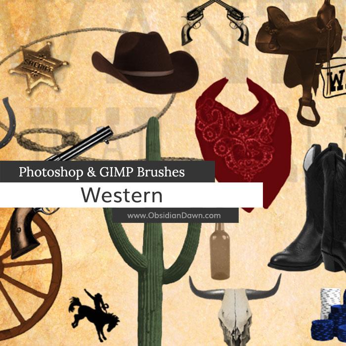 Western - Cowboy Photoshop and GIMP Brushes