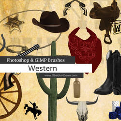 Western - Cowboy Photoshop and GIMP Brushes