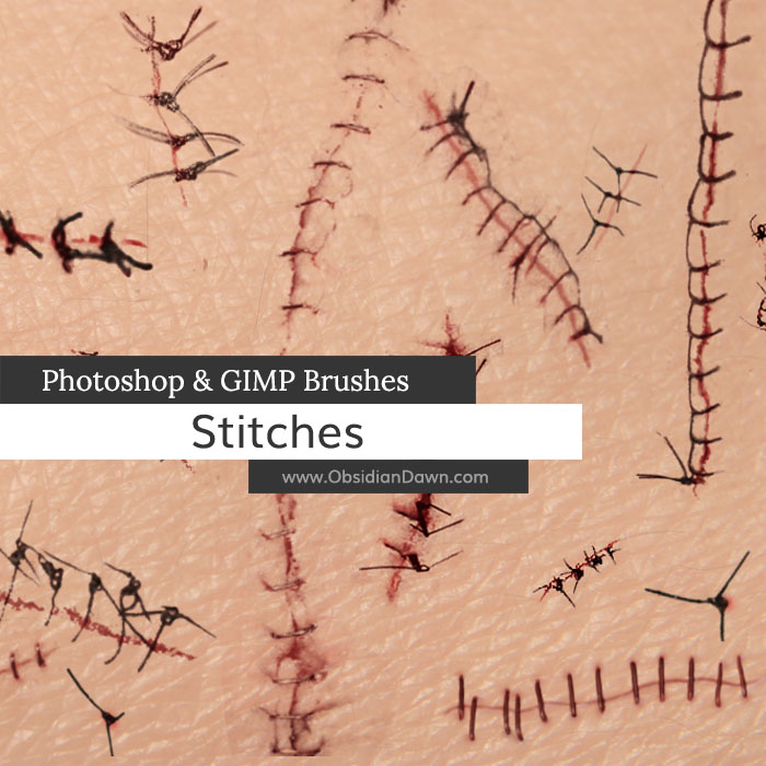 Stitches and Sutures Photoshop and GIMP Brushes by redheadstock