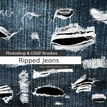 Ripped - Torn Jeans Photoshop and GIMP Brushes by redheadstock
