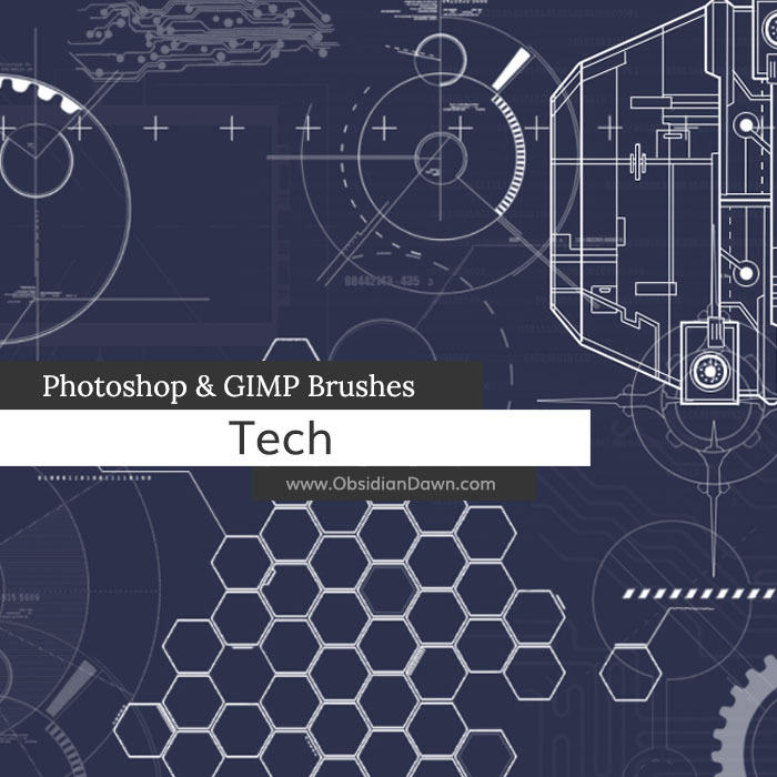 Tech Photoshop and GIMP Brushes