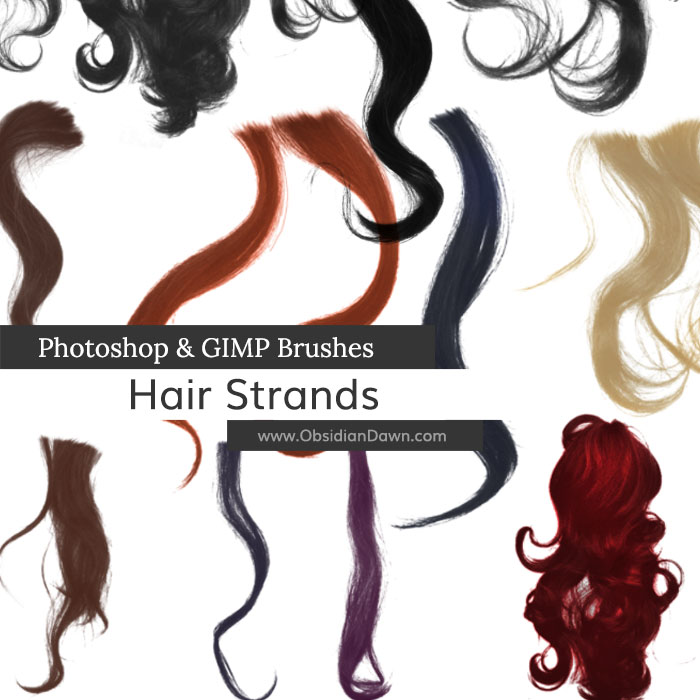Wavy Hair Strands Photoshop and GIMP Brushes