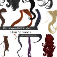 Wavy Hair Strands Photoshop and GIMP Brushes by redheadstock