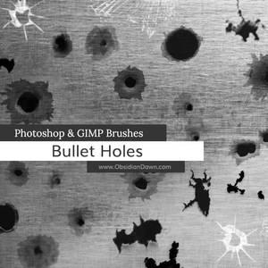 Bullet Holes Photoshop and GIMP Brushes