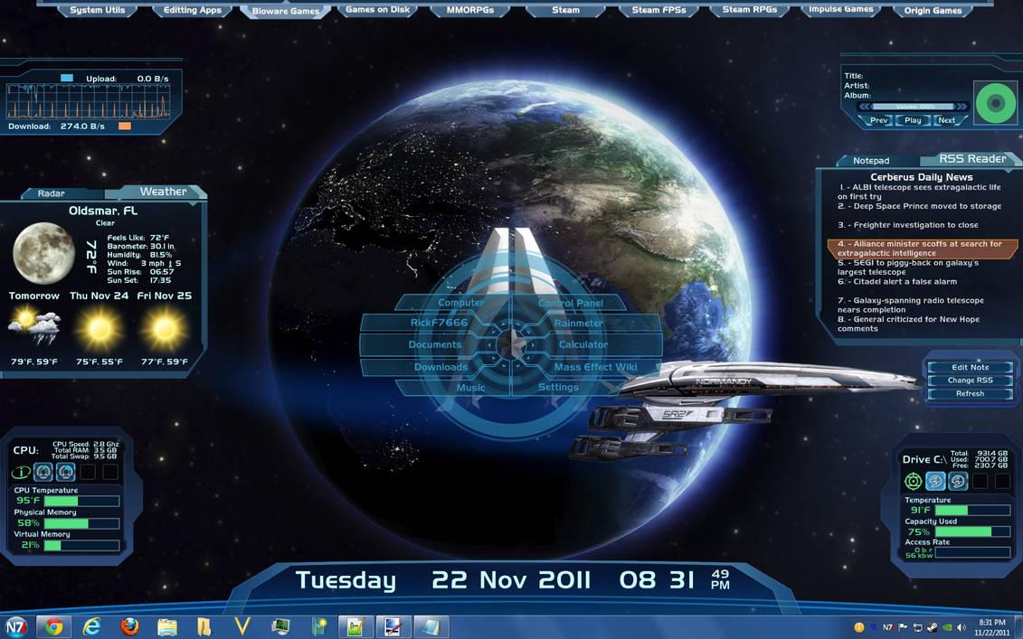 Mass Effect Rainmeter Skin by RickF7666
