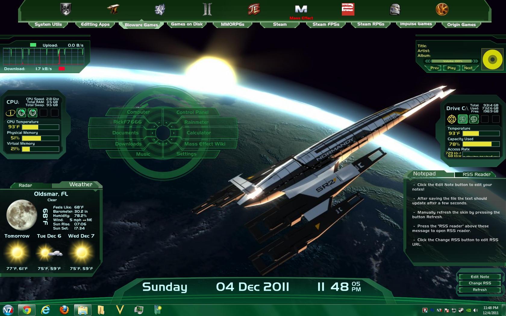 Mass Effect Colonist Rainmeter Skin by RickF7666