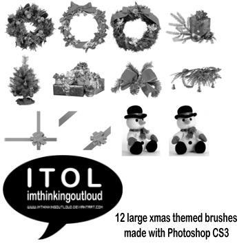 Large Christmas Themed Brushes by imthinkingoutloud